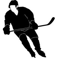 Хоккеист с клюшкой в руках