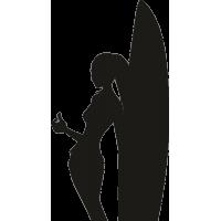 Девушка облокотившаяся на серфовую доску