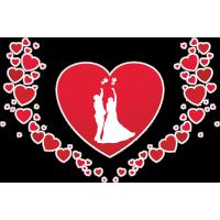 Коллаж из сердец с изображением молодожёнов