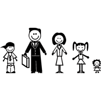 Семья - папа, мама, две дочки, сын