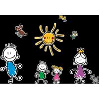 Семья - детский рисунок. Папа, мама, сын, дочь, собака, кот, птичка, цветок, солнце