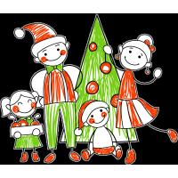 Семья у новогодней ёлки
