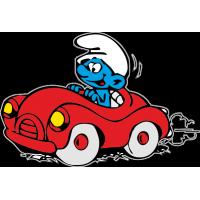 Смурфик едет на машине