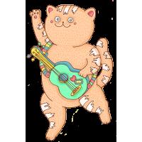 Кот с гитарой