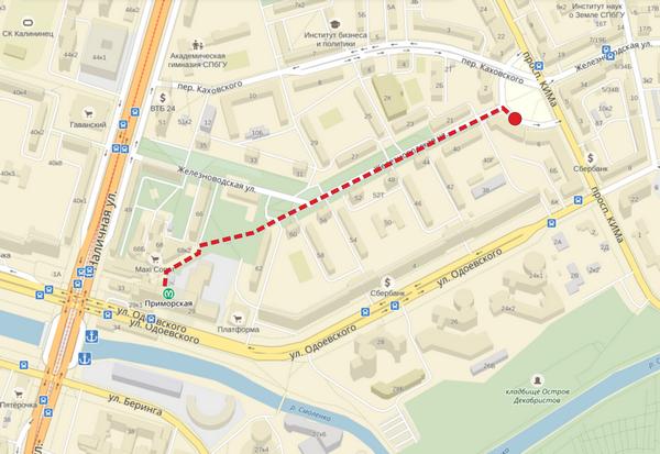 Карта пути от метро Приморская