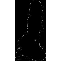 Силуэт обнаженной девушки на коленях