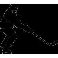 Хоккеист с поднятой клюшкой