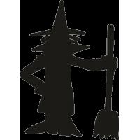 Ведьма с метлой в руке