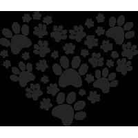 Отпечатки лап животных в форме сердца