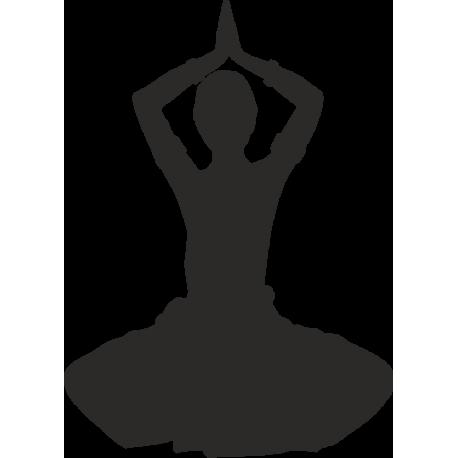 Сидящая индианка с поднятыми над головой руками