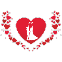 Коллаж из сердец с изображением молодоженов