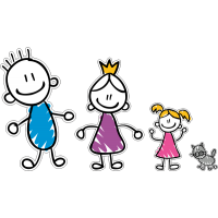 Семья - папа, мама, дочь, кот
