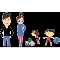 Семья - папа, мама, сын, дочь, кот