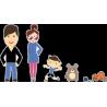 Семья - папа, мама, сын, собака, кот