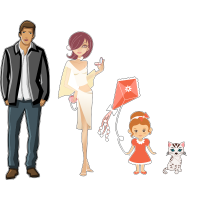 Гламурная семья - папа, мама, дочь, кошка