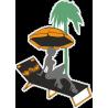 Девушка на пляже под пальмой