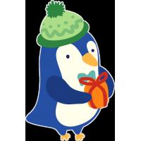 Пингвин в шапке с подарком
