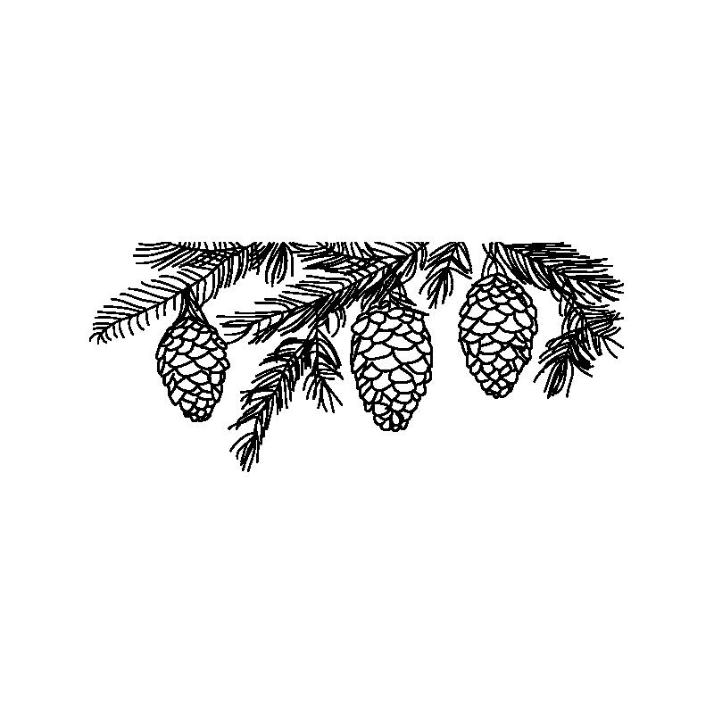 картинки на окно сосновые веточки с шариками перед