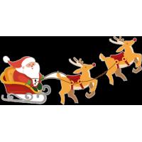 Санта Клаус на санях с оленями