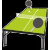 Стол для настольного тенниса, ракетки и мяч