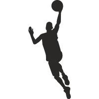 Баскетболист в прыжке с мячом