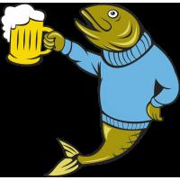 Рыба с бокалом пива