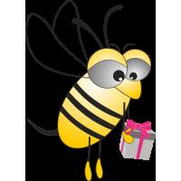 Пчела с подарком в руках