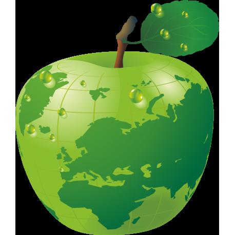 Часть земли изображена на яблоке
