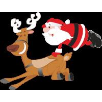 Дед Мороз запрыгивает на оленя