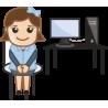 Девушка возле компьютера