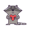 Енот с сердечком