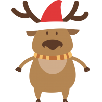 Олень в шапке Деда Мороза