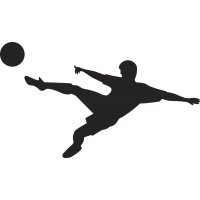 Футболист бьет по мячу у воздухе