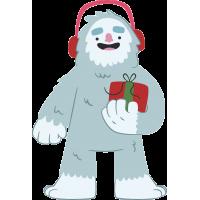 Снежный человек в наушниках и с подарком