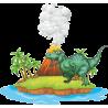 Динозавр на острове с вулканом