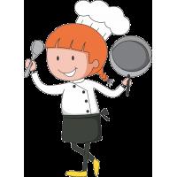 Повар со сковородой