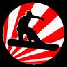Сноубордист на фоне флага Японии