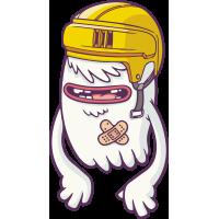 Мультяшный монстр в желтом шлеме
