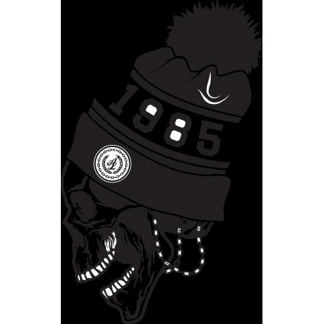 Череп в шапке с надписью 1985