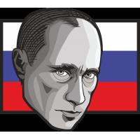 Владимир Путин на фоне российского флага