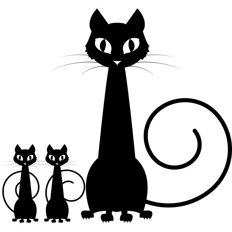 Открытки с силуэтами кошек, картинка