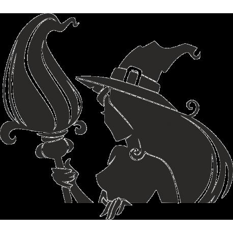 Ведьма с метлой в руках