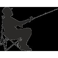 Рыбак на стульчике с удочкой