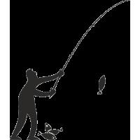 Рыбак с удочкой словил рыбу