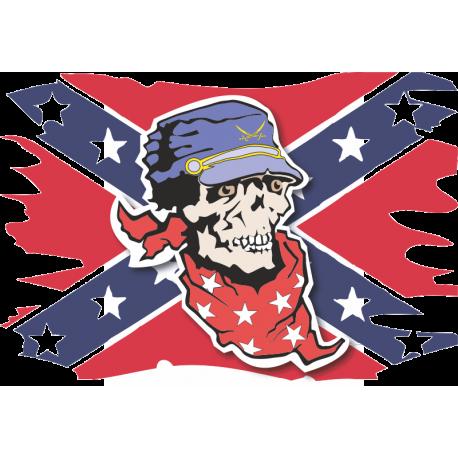 Флаг конфедератов с черепом по центре