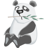 Панда жует ветку
