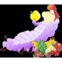 Мультяшная гусеница ест фрукты