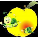 Мультяшная гусеница ест яблоко