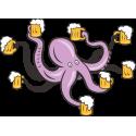 Осьминог с бокалом пива