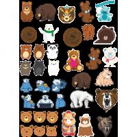Стикерпак - набор наклеек  медведи